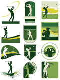 Golfing labels vector collection