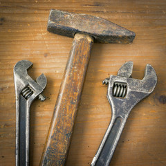 Hammer and two wrenches