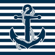 Vintage Anchor and Striped Background - 77941522