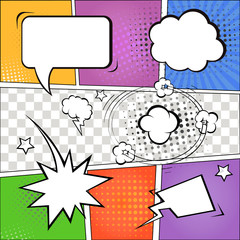 Comic speech bubbles and comic strip on colorful halftone