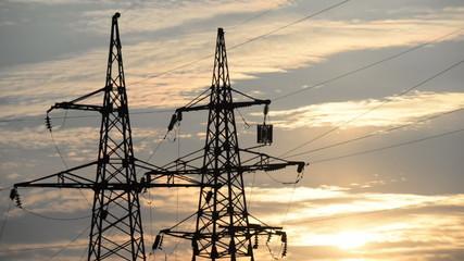 High-power plants, the setting sun, timelapse