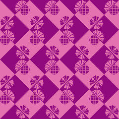 seamless checkered background with flowers thistle