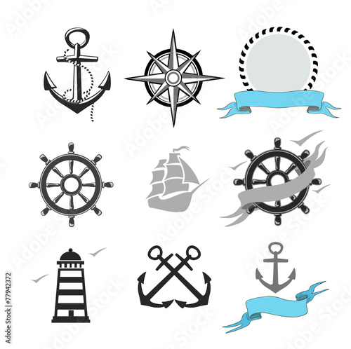 Illustration of set marine icons - 77942372