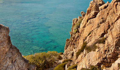 rocky coast of the sea
