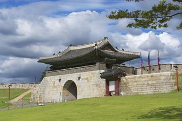 Hwaseong fortress exterior in Suwon, South Korea.
