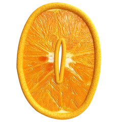 Number zero made from orange fruit.