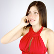 Happy woman on the phone talking isolated