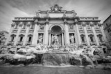 Trevi Fountain. Black and white.