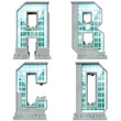 Alphabet in the form of urban buildings. Letter a, b, c, d.