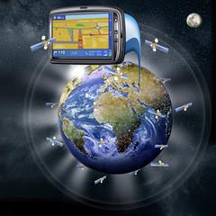 Globus mit Satelliten und Navi, GPS