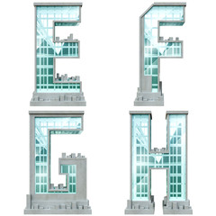 Alphabet in the form of urban buildings. Letter e, f, g, h.