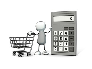 little sketchy man with calculator and shopping cart