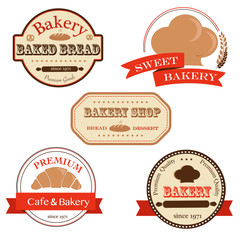 Collection of bakery logo badges and labels