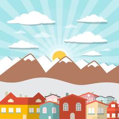 Houses - City Mountain Vector Flat Design Illustration