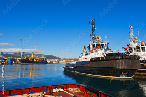 Two Tugboats and Containers Ship - 77943790