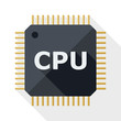 CPU icon with long shadow on white background - 77943949