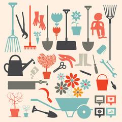 Retro Vector Gardening Icons Set