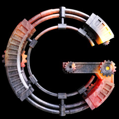 Mechanical alphabet made from iron, Letter G