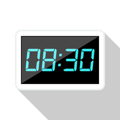 Digital clock flat icon with long shadow on white background