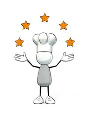 little sketchy man with chef's cap and five stars