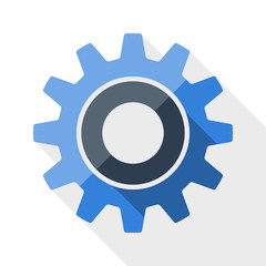 Gear or settings icon with long shadow on white background