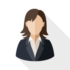 Female user icon with long shadow on white background