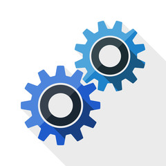 Gears or settings icon with long shadow on white background