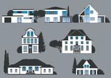 Fototapety Icons verschiedener Häuser