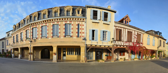 Main street in the French village Lupiac in Gascony