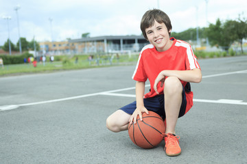 Young Boy In Basketball who having fun