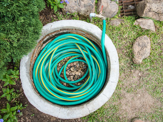 Green rubber tube keep in the concrete pipe