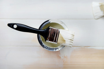 Paint Can and Paint Brush from above
