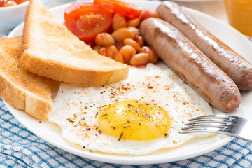 Traditional delicious English breakfast with sausages, close-up