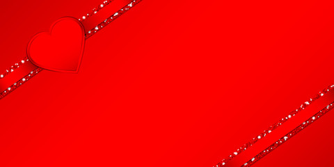 Heart Double Glitter Ribbon Red Background