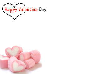 Valentine Day Heart shape marshmallow with on whtie background