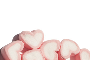 Heart shape marshmallow with on background
