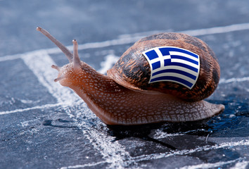 finish line winning of a snail with the colors of Greece flag
