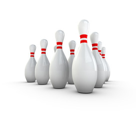 Multiple Bowling Pins Standing In Formation