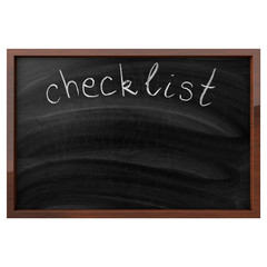 Checklist Written On Isolated Blackboard