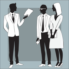 Head businessman gives the job to employees