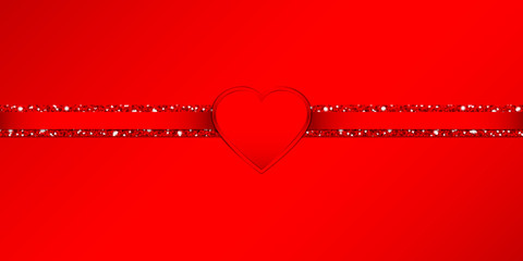 Shining Heart Glitter Ribbon Horizontal Red Background