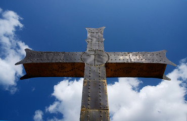 Iron georgian orthodox christian cross, religious symbol