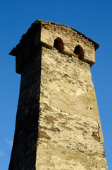 Ancient abandoned fortress tower in Upper Svaneti,Georgia