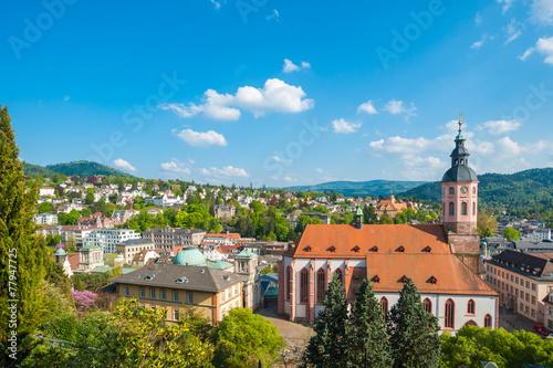 Deurstickers Temple Stadtpanorama mit Stiftskirche, Baden-Baden, Schwarzwald, Baden-