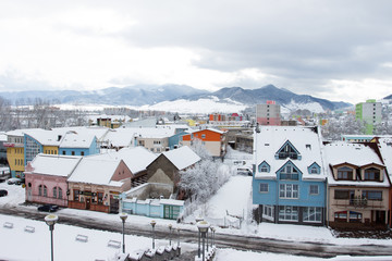 Colorful city in the winter