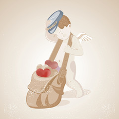 Little Cute Cupid drags a bag with multi-colored hearts, Illustr