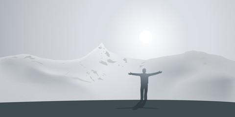 Paysage Homme Montagne
