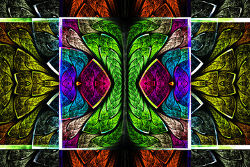 Multicolored symmetrical geometric pattern in stained glass styl