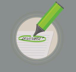 A highlighter marking remember