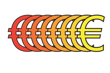 Euro sign blending from red to yellow